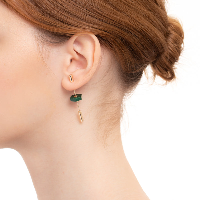 Short Spear Malachite Earring