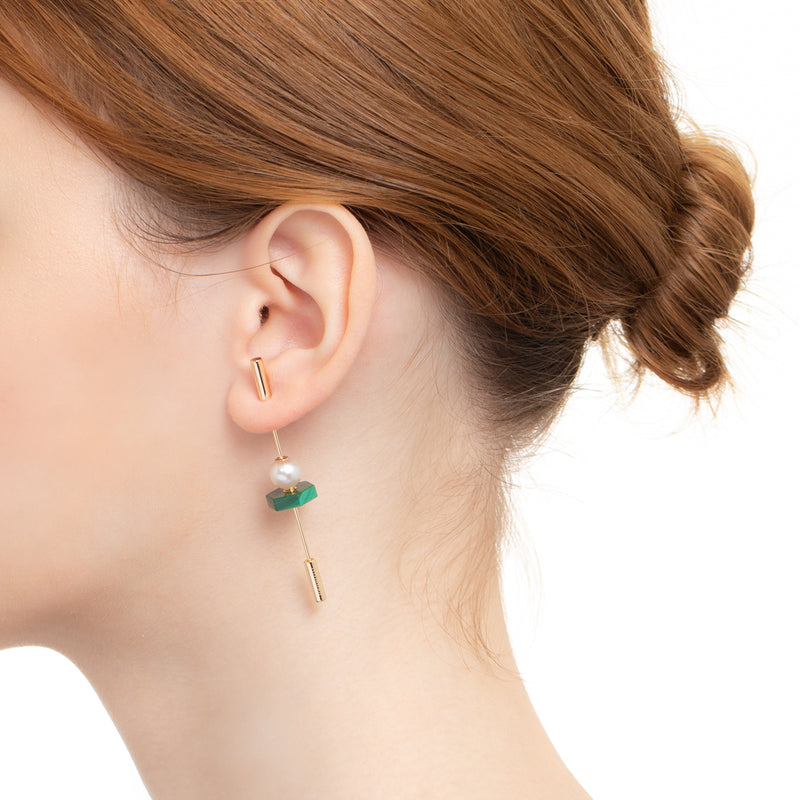 Spear Malachite Earring