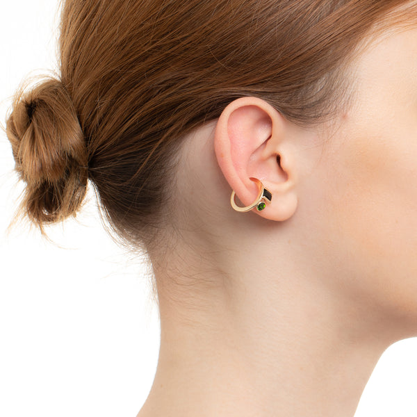 Bird of Paradise Ear Cuff Onyx & Chrome Diopside