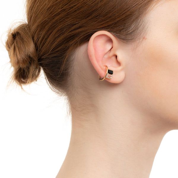 Bird of Paradise Ear Cuff Onyx & White Topaz