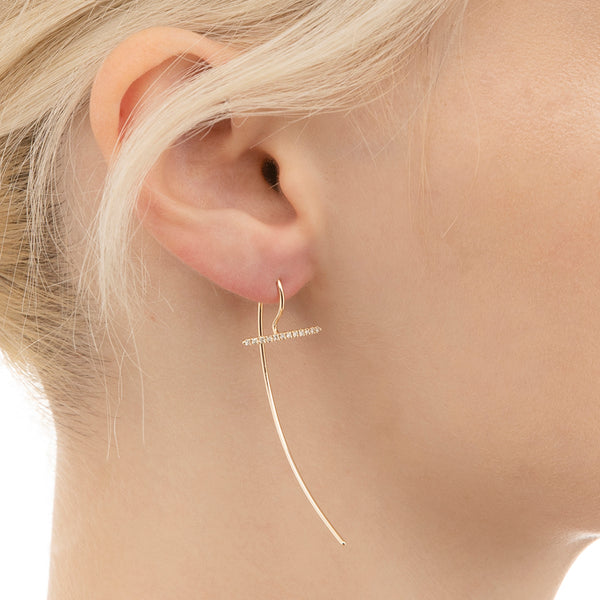 Gossamer Short Diamond Hook Earring