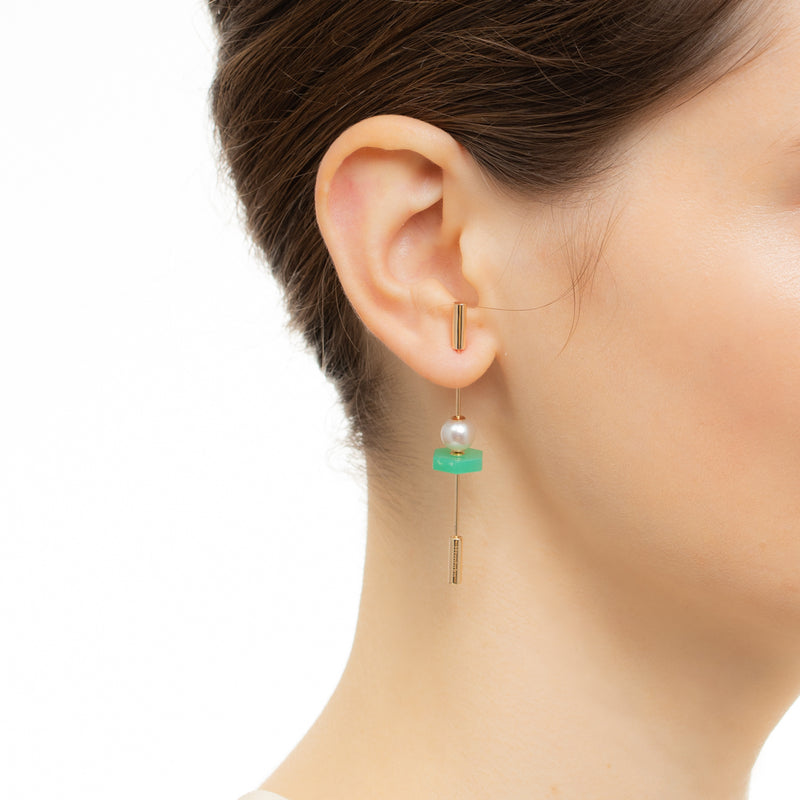 Spear Chrysoprase Earring