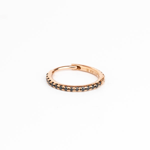 18k Black Diamond Hoop Earring L size (Rose Gold)
