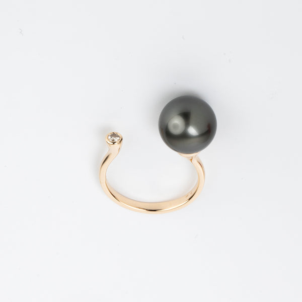 Tahitian Black Pearl Diamond Cuff Ring