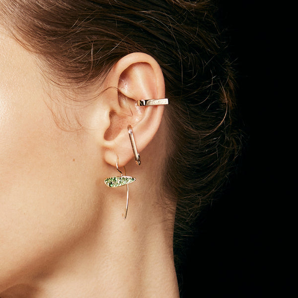 Bird of Paradise 18k Green Garnet Hook Arrow Earring