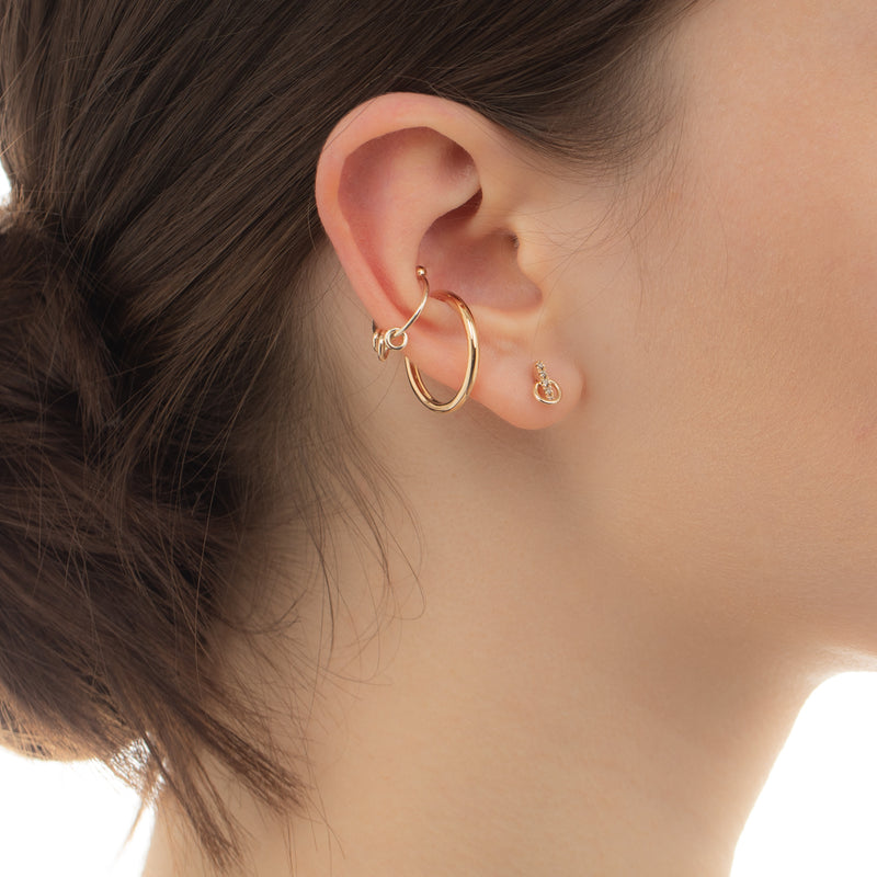 Deco Small Diamond Earring with Small Hoop