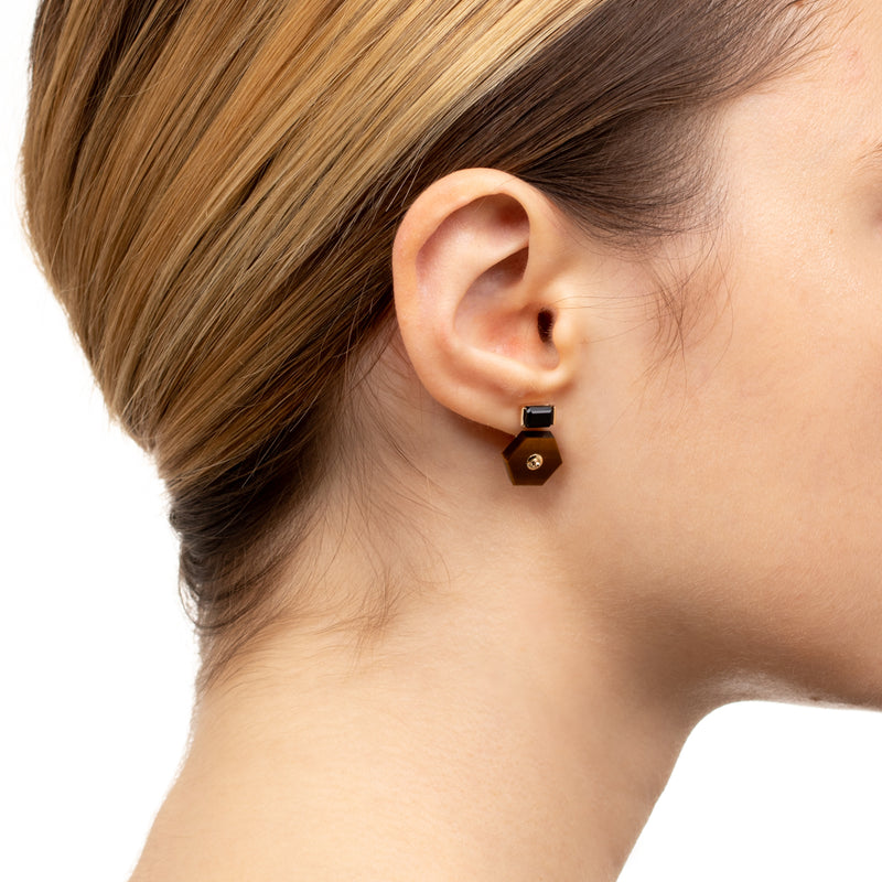 Orbital Onyx Earring with Tiger's Eye Backing