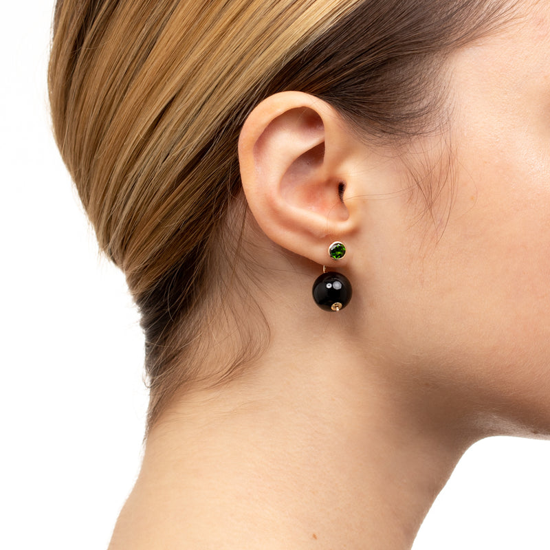 Bumble Bee Chrome Diopside Earring with 12mm Onyx Backing
