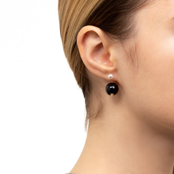 Bumble Bee Pearl Earring with 12mm Onyx Backing