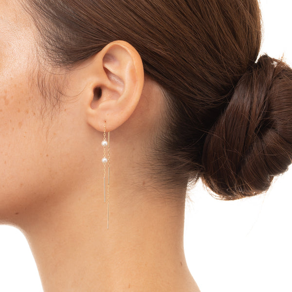 Toggle Pearl Chain Earring