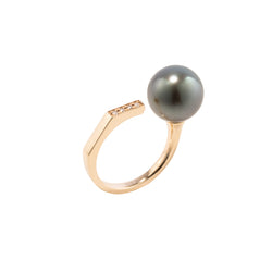 Manhattan Tahitian Black Pearl Diamond Cuff Ring