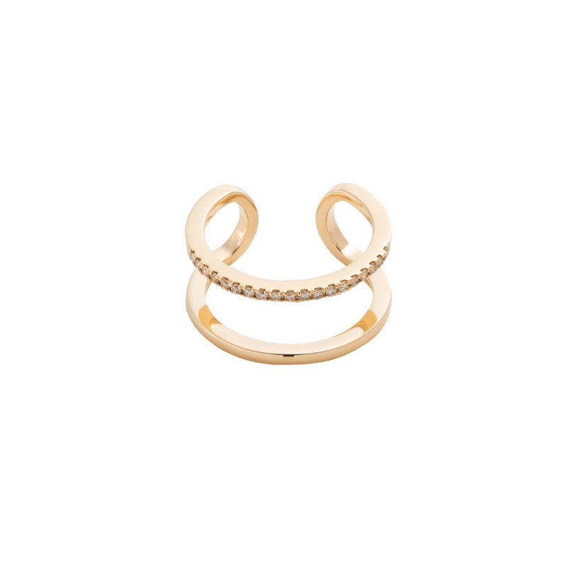 Manhattan Double Line Diamond Cuff Ring