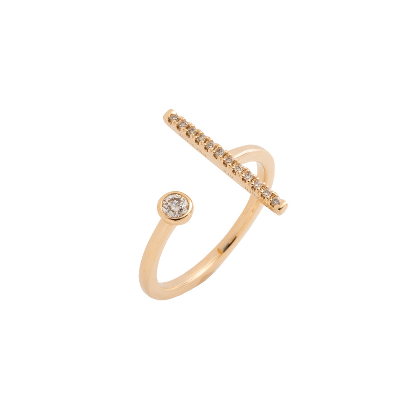 Gossamer Diamond Short Bar Cuff Ring