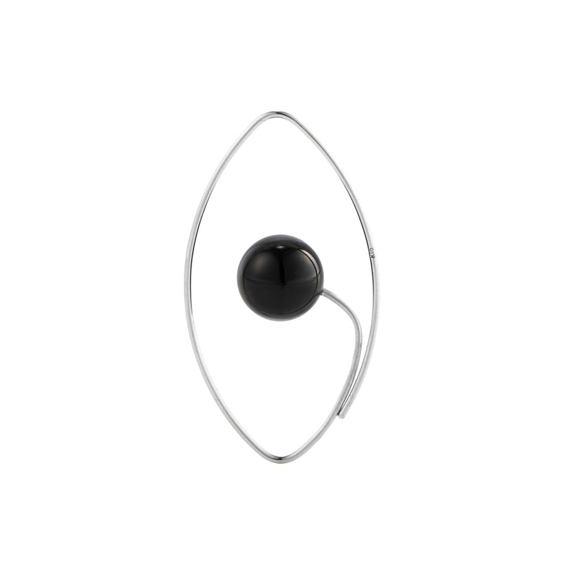 Onyx Floating Oval Earring