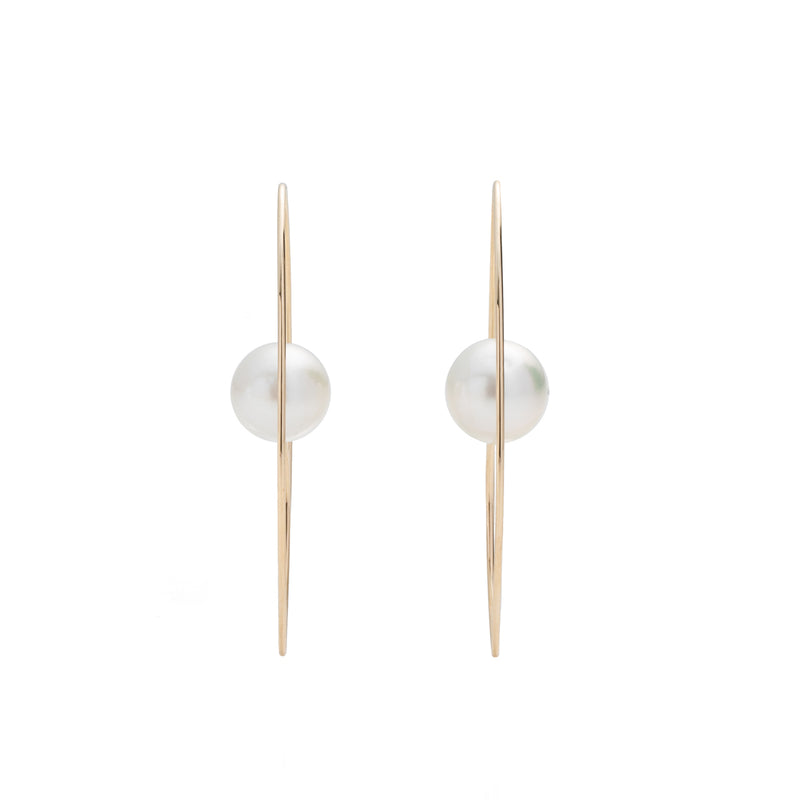 South Sea Pearl Floating Oval Earring L size