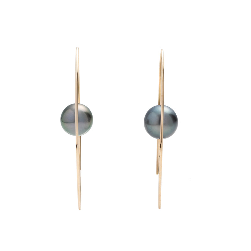 Tahitian Black Pearl Floating Oval Earring L size