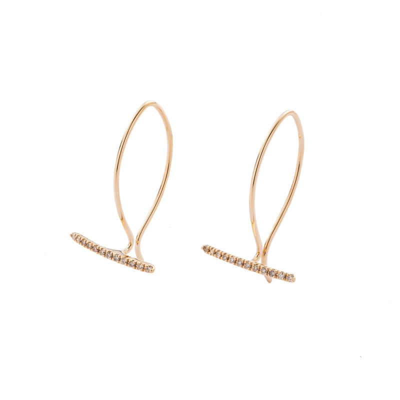 Diamond U Hook Earring