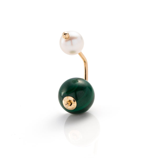Bumble Bee Pearl Earring with Malachite Backing