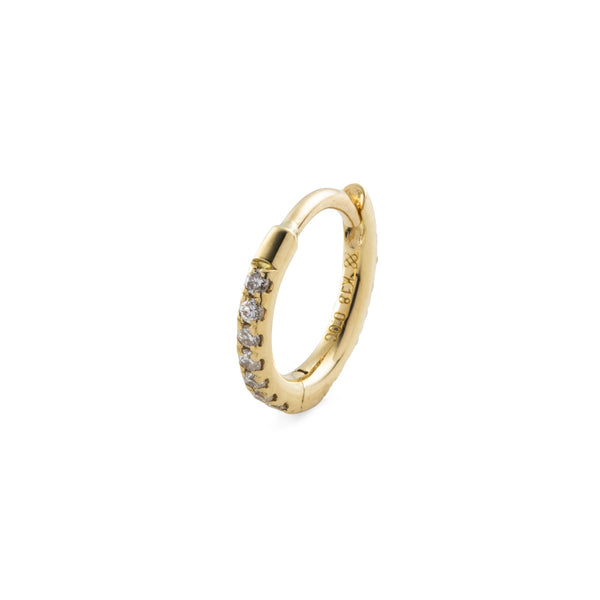 18k Diamond Hoop Earring S size