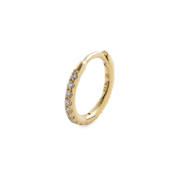 18k Diamond Hoop Earring M size