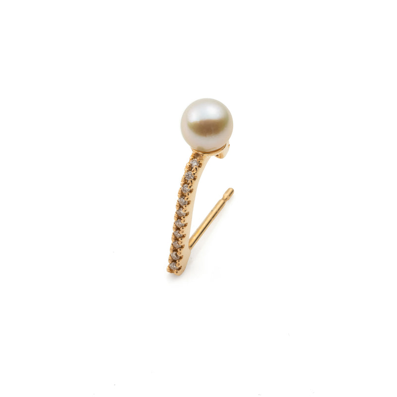 Diamond Pearl Inner Hook Earring