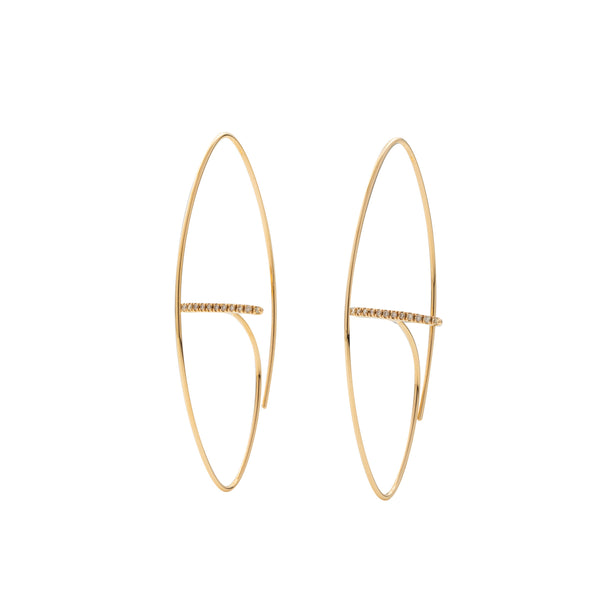 Gossamer Floating Diamond Bar Oval Earring L