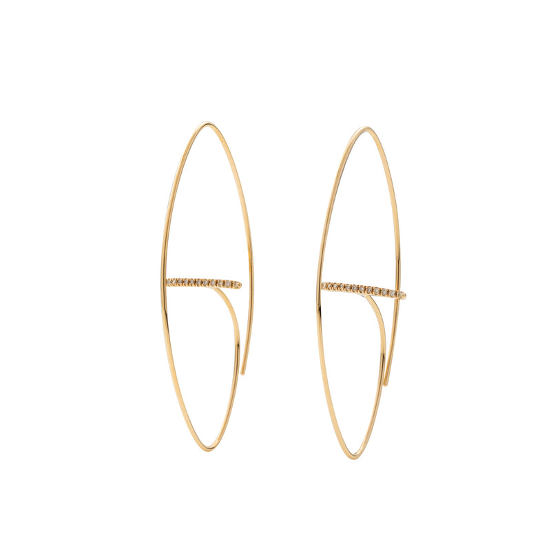 Gossamer Diamond Bar Floating Oval Earring L size