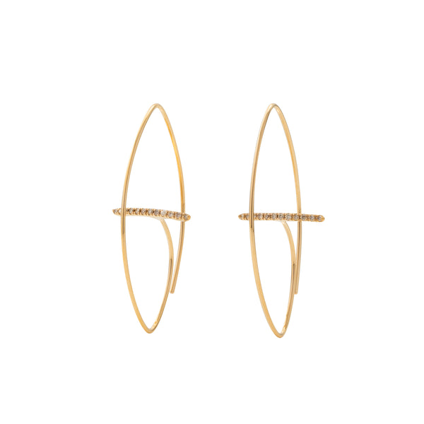 Gossamer Floating Diamond Bar Oval Earring M