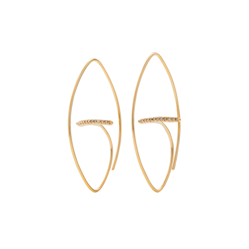 Gossamer Diamond Bar Floating Oval Earring M size