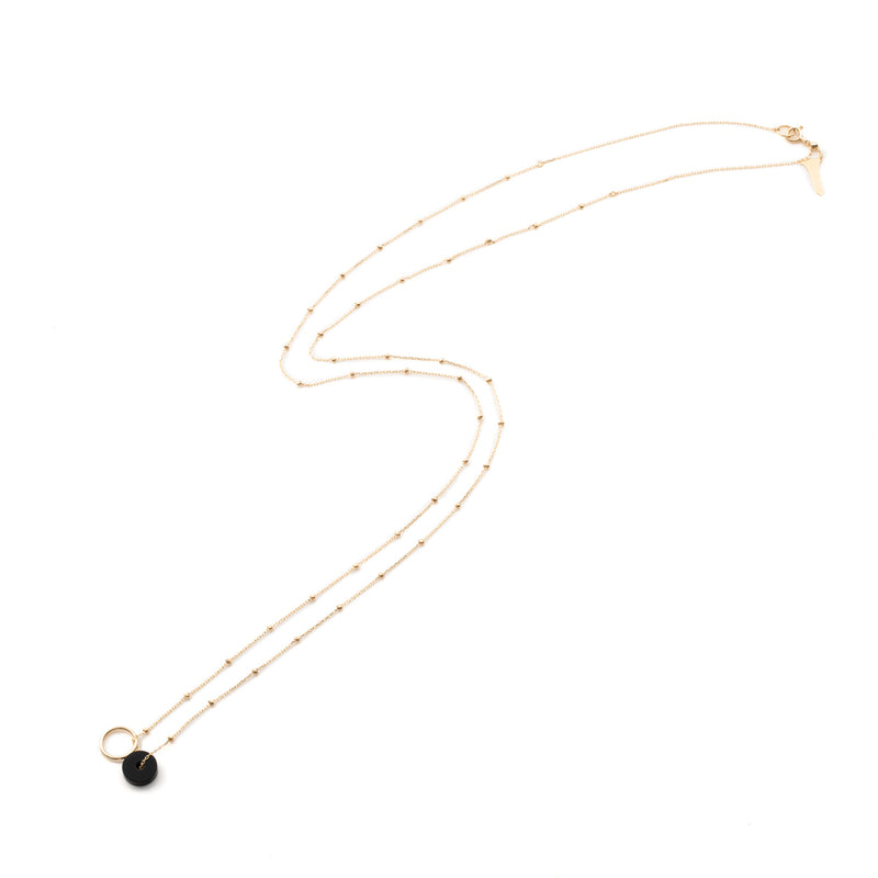 Orbital Onyx Stud Chain Necklace