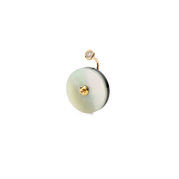 Orbital Diamond Earring with Onyx and Mother of Pearl Back