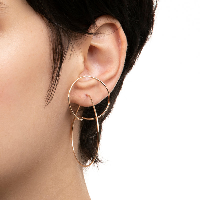 Double Hoop Floating Earring L size