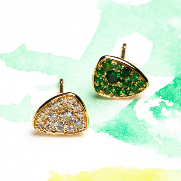 Bird of Paradise 18k Green Garnet Earring