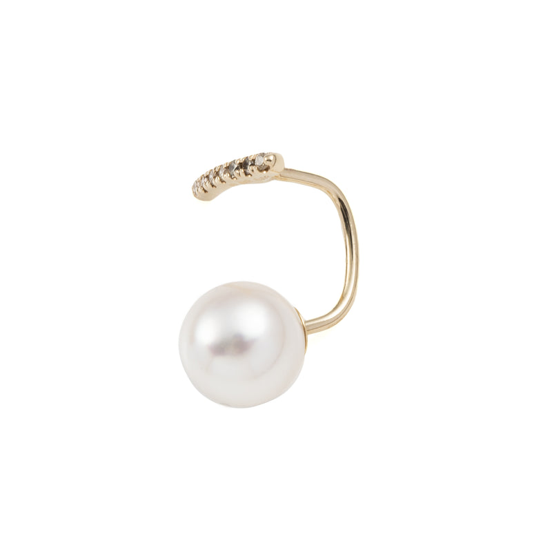 Diamond Short Bar Earring with Pearl Backing