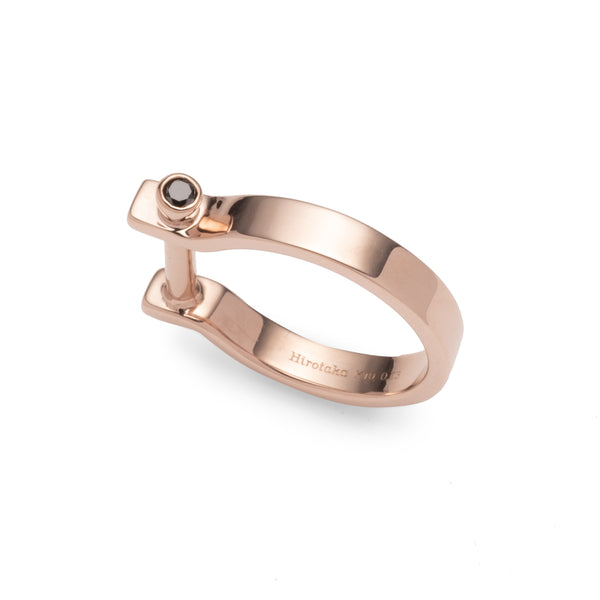 Indústria Black Diamond Pinky Ring 3mm (Rose Gold)
