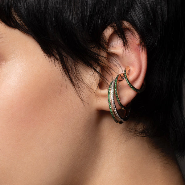 Oversized Green Garnet Ear Cuff L size (Black Ruthenium Plated)