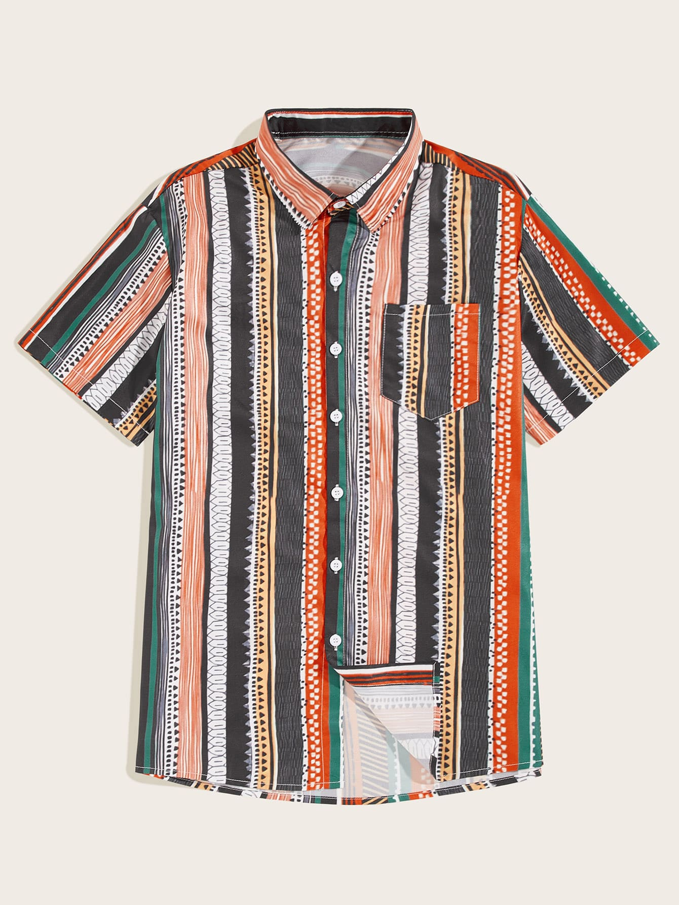 Tribal Curved Hem Shirt