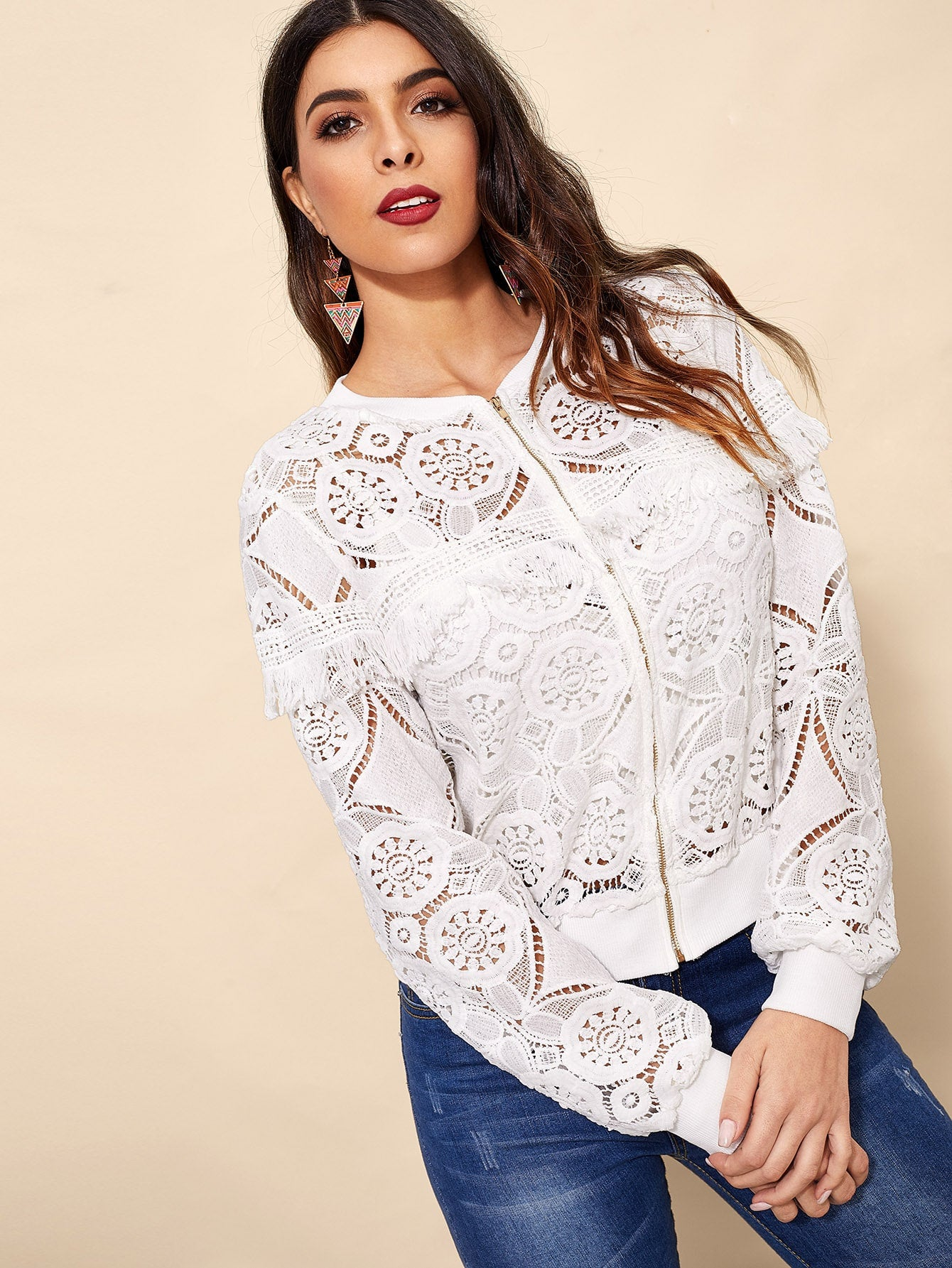 Cut-out Fringe Zip-up Lace Jacket