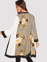 Scarf Print Open Placket Coat