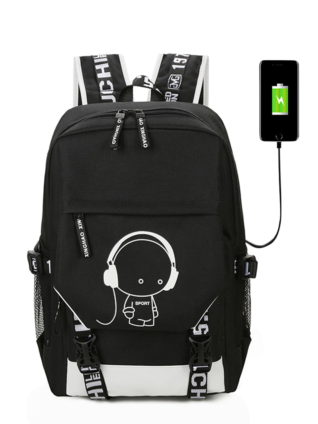Men Luminous Cartoon Print Backpack