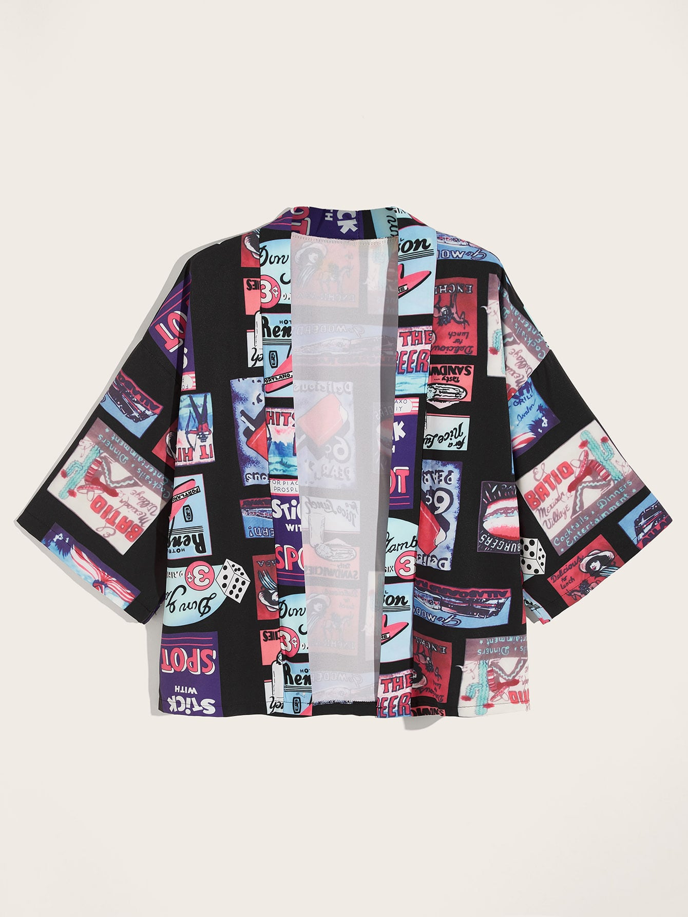 Men Letter & Figure Print Open Front Shirt