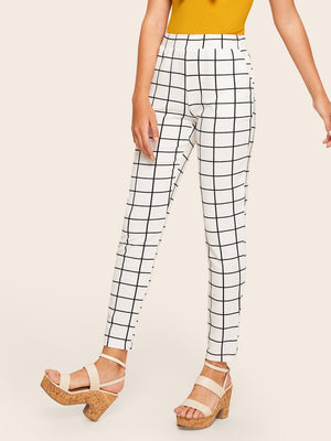 Elastic Waist Slant Pocket Grid Pants