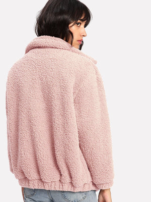 Dual Pocket Faux Fur Teddy Jacket