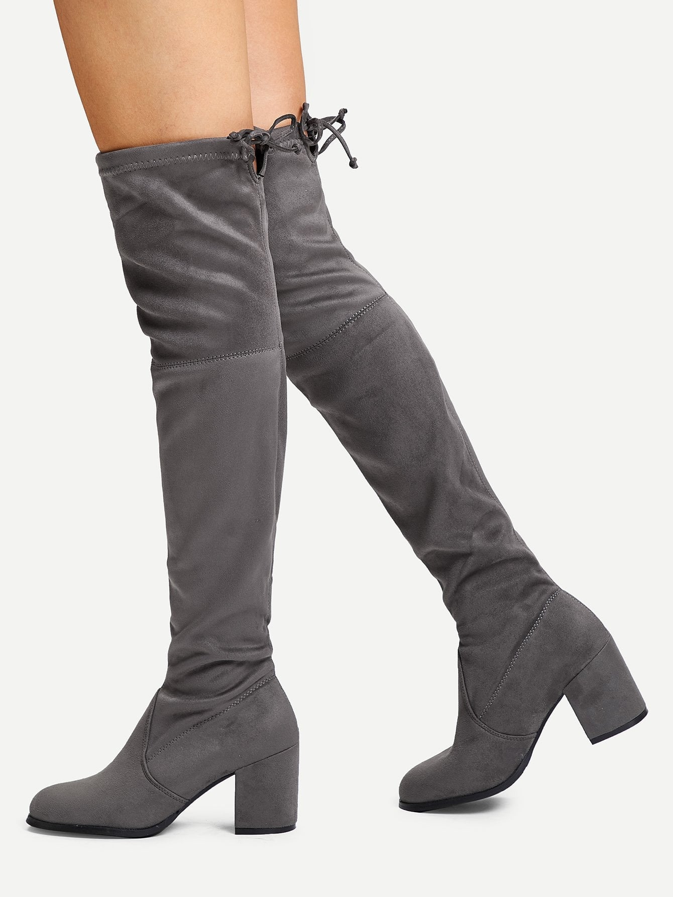Tie Back Over Knee Block Heeled Boots