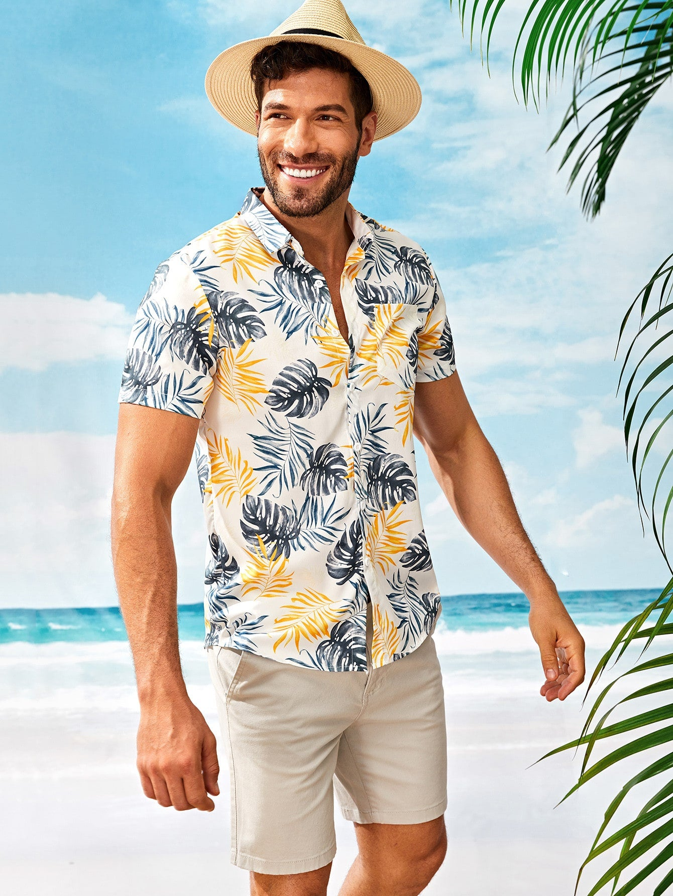 Tropical Print Hem Shirt