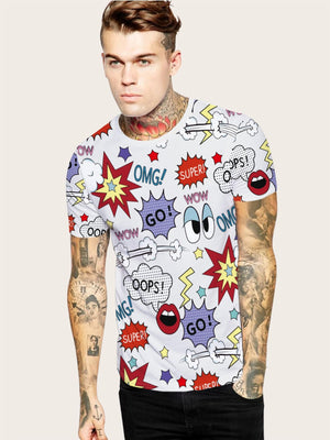 Men Colorful Cartoon Print Tee