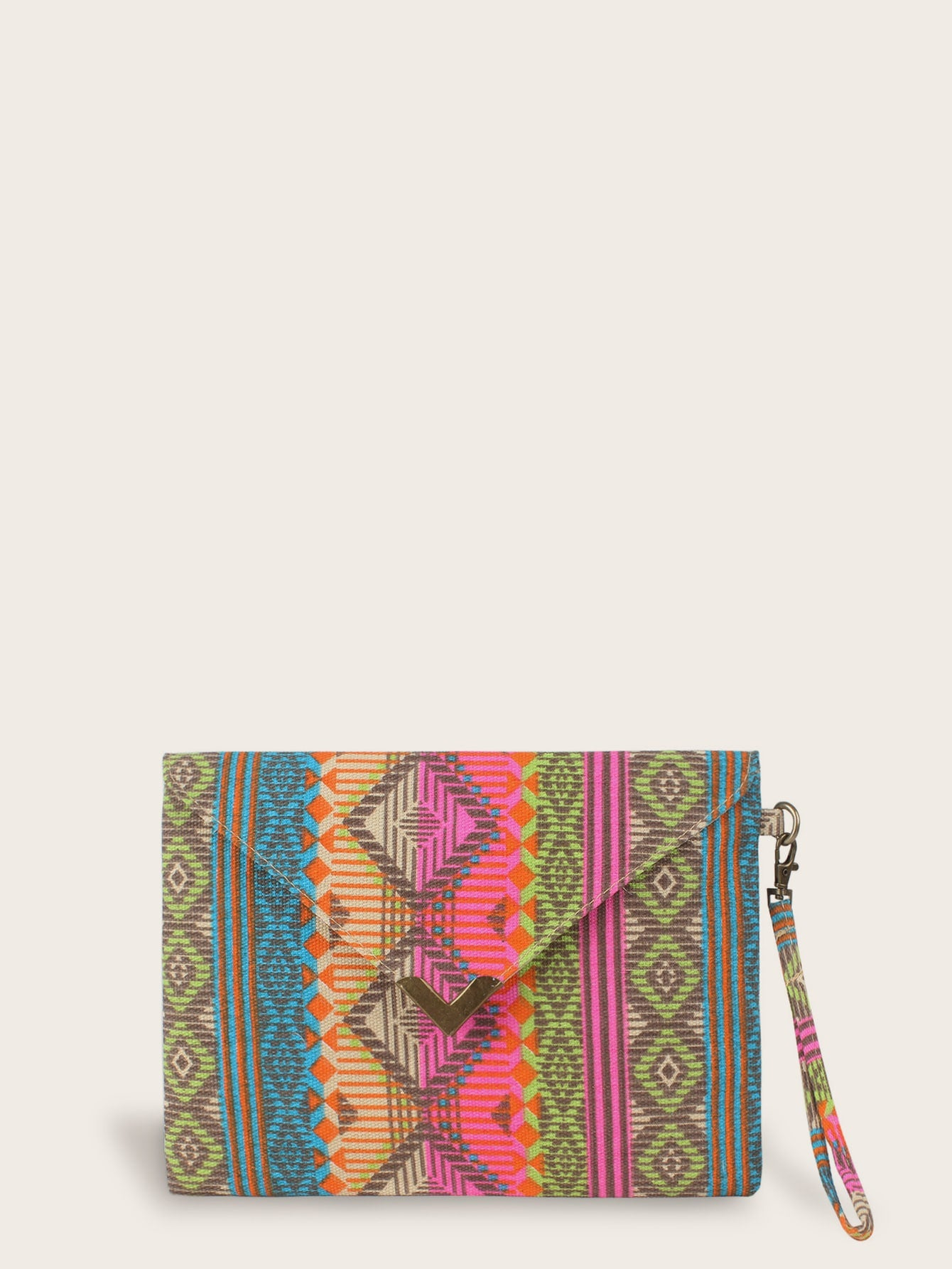 Geometric Print Purse With Wristlet
