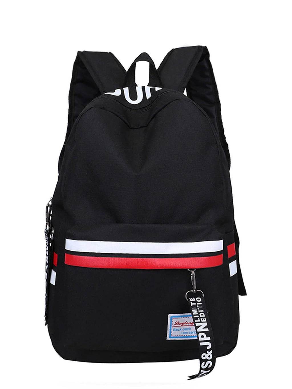 Men Striped Detail Letter Print Backpack