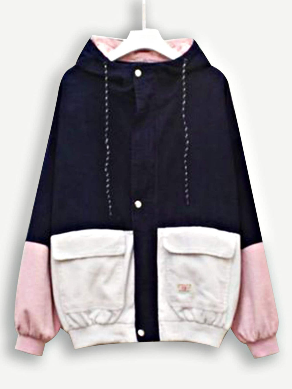 Corduroy Color Block Drawstring Hooded Jacket
