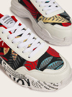 Men Leaf Print Chunky Sole Trainers
